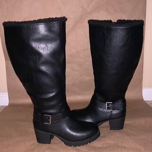NWOT lined black tall boots